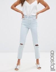 Голубые рваные джинсы слим в винтажном стиле ASOS TALL FARLEIGH