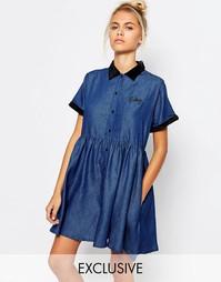 Джинсовое чайное платье с вышивкой Baby Lazy Oaf - Синий