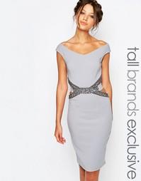 Платье-футляр с декоративной отделкой и вырезами на поясе Little Mistr
