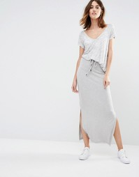 Трикотажная меланжевая юбка макси Vila - Серый
