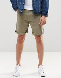 Светло-зеленые джинсовые шорты слим ASOS - Sea spray
