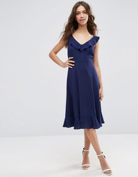 Приталенное платье миди с оборками ASOS - Темно-синий
