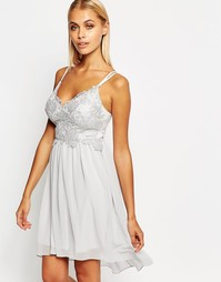 Платье мини с кружевным лифом Lipsy - Серебряный
