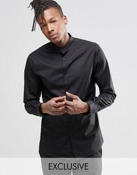 Зауженная рубашка с воротником на пуговице Noak - Черный