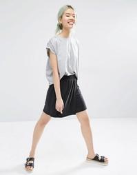 Трикотажная мини-юбка с запахом Monki - Черный