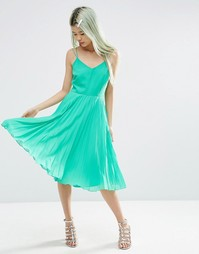 Платье миди на бретельках с плиссированной юбкой ASOS - Зеленый