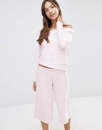 Пижама с топом и юбкой-брюками в карамельную полоску Boohoo - Розовый