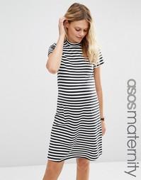 Цельнокройное платье‑трапеция в полоску с высокой горловиной ASOS Mate