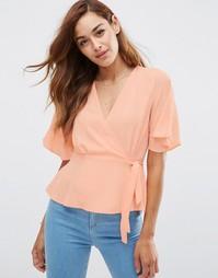 Блузка с запахом ASOS Tea - Розовый