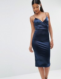Атласное платье миди на бретельках Club L - Темно-синий