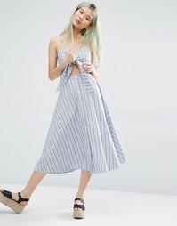 Платье с завязкой и застежкой на пуговицы спереди Weekday - Мульти