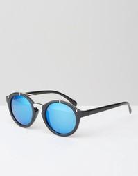 Черные круглые солнцезащитные очки с планкой сверху и зеркальными стек Jeepers Peepers