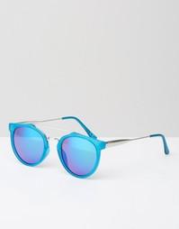 Голубые солнцезащитные очки в круглой оправе с зеркальными стеклами Je Jeepers Peepers
