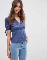 Чайная блузка с завязками на рукавах ASOS - Темно-синий