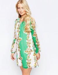 Цельнокройное платье с длинными рукавами Yumi - Мульти