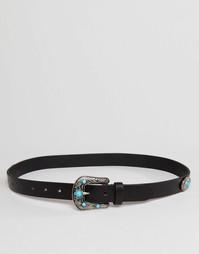 Кожаный ремень в стиле вестерн с бирюзовым камнем ASOS - Черный
