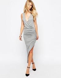 Трикотажное платье с запахом Rock & Religion - Серый меланж