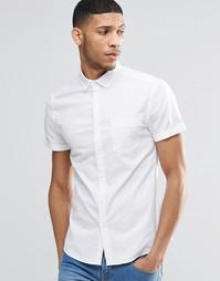 Облегающая оксфордская рубашка с короткими рукавами ASOS - Белый