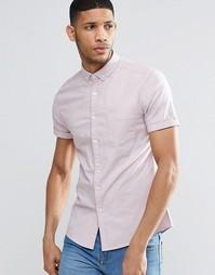 Пыльно-розовая облегающая оксфордская рубашка с короткими рукавами ASO Asos