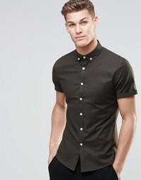Оксфордская рубашка скинни с короткими рукавами ASOS - Темный хаки