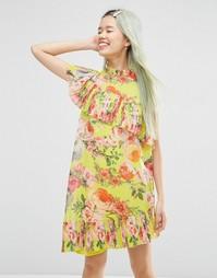 Плиссированное цельнокройное платье с ярким цветочным принтом ASOS