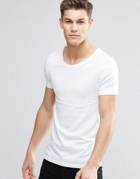 Облегающая эластичная футболка с овальным вырезом ASOS - Белый