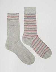 Комплект из 2 пар серых носков в полоску Hugo Boss - Серый