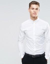 Зауженная рубашка с булавкой на воротнике и длинными рукавами ASOS