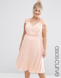 Платье миди с кружевными вставками ASOS CURVE Kate - Nude pink