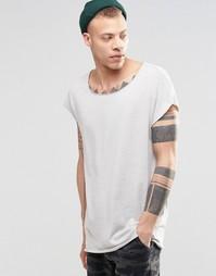 Фактурная oversize-футболка без рукавов с необработанными краями ASOS