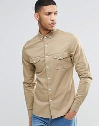 Светло-бежевая облегающая рубашка в стиле милитари с длинными рукавами Asos