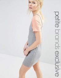 Платье-футболка 2 в 1 контрастной расцветки One Day Petite