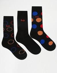 Набор из 3 пар черных носков в горошек Pringle Lanark - Черный