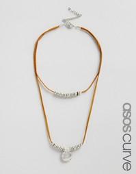 Кожаное ожерелье-чокер с подвеской-диском в стиле вестерн ASOS CURVE
