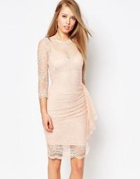 Кружевное платье с рюшами Body Frock Joanna - Телесный