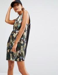 Длинное платье-майка с отделкой пайетками в камуфляжном стиле Daisy St