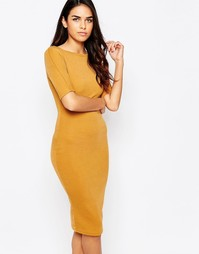 Облегающее платье миди с рукавами 3/4 AX Paris - Горчичный