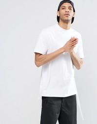 Белая оversize-футболка с удлиненным краем сзади и лямками по бокам AS Asos