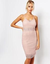 Облегающее кружевное платье на бретельках Fashion Union - Розовый