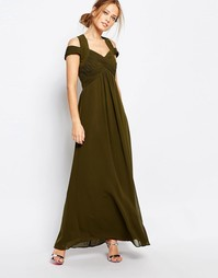 Платье макси с завышенной талией Little Mistress - Оливково-зеленый