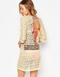 Пляжное платье в стиле кроше с открытой спиной Maaji - Кремовый