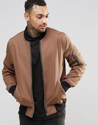 Светло-коричневая куртка-пилот с карманами ASOS MA1