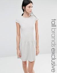 Трикотажное платье с баской по краю One Day Tall - Серый меланж