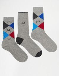 Набор из 3 пар серых носков Pringle Strathaven - Темно-синий