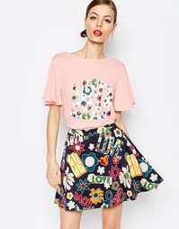 Футболка с цветочной отделкой Love Moschino Floral Love - Розовый