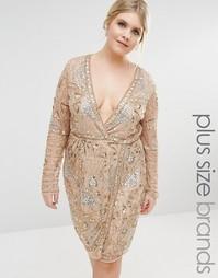 Платье с запахом и декоративной отделкой бисером Missguided Plus Premi