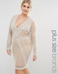 Кружевное платье с отделкой бисером Missguided Plus Premium - Телесный