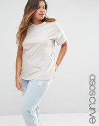 Oversize-футболка в льняном стиле ASOS CURVE - Серый