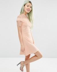 Короткое приталенное платье из ткани понте с ажурной вставкой ASOS