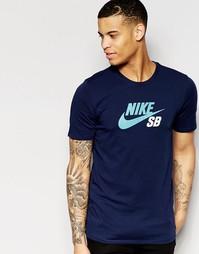 Темно-синяя футболка Nike SB DF Icon 698250-451 - Темно-синий